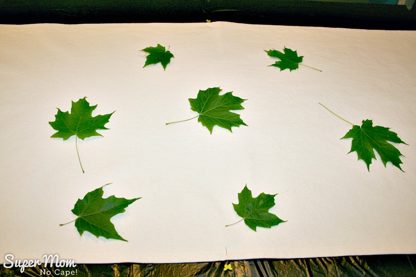 Several maple leaves arranged randomly on the table runner