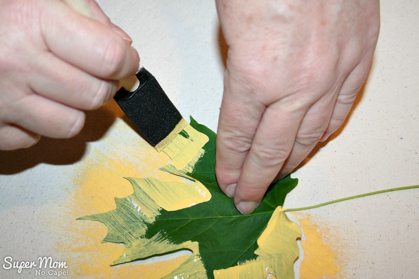 Step 4: Continue to pull the sponge brush off the leaf
