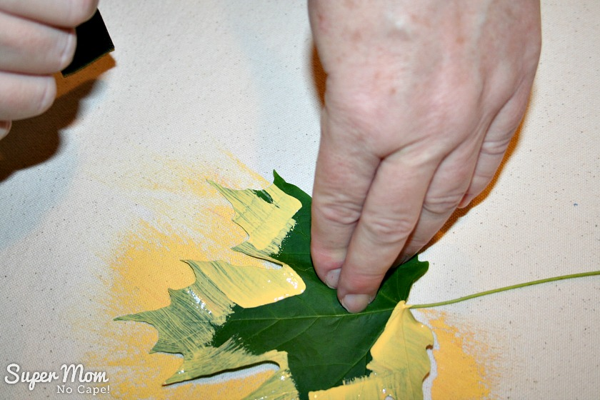 Step 6: Pull the sponge brush all the way off the leaf using a light touch