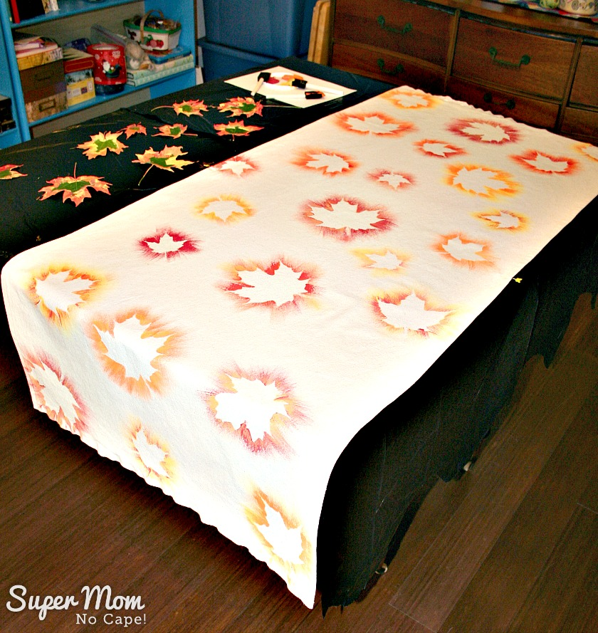 Painted Maple Leaf Table Runner with all leaves painted
