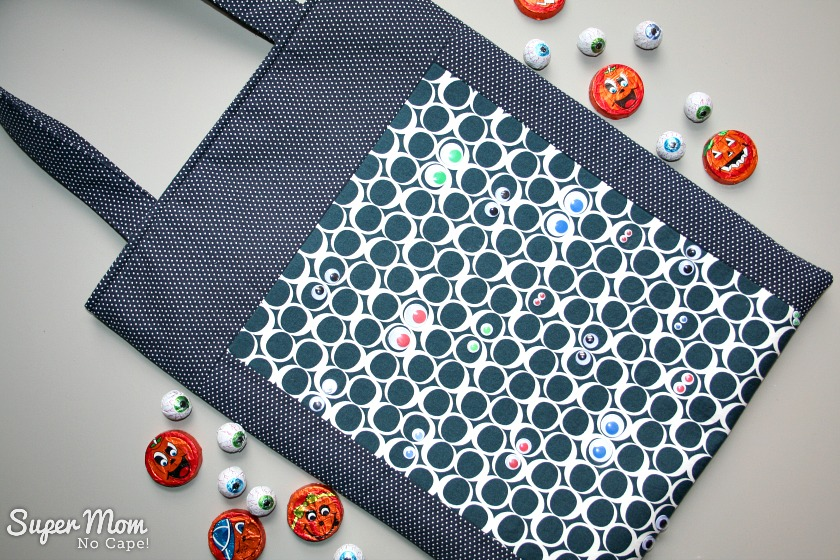 Spooky Eyeballs Trick or Treat Bag made with Serene Tide Round Elements by Art Gallery Fabrics