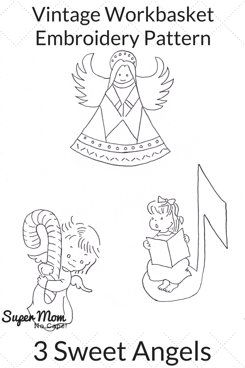 Vintage Workbasket Embroidery Pattern - 3 Sweet Angels
