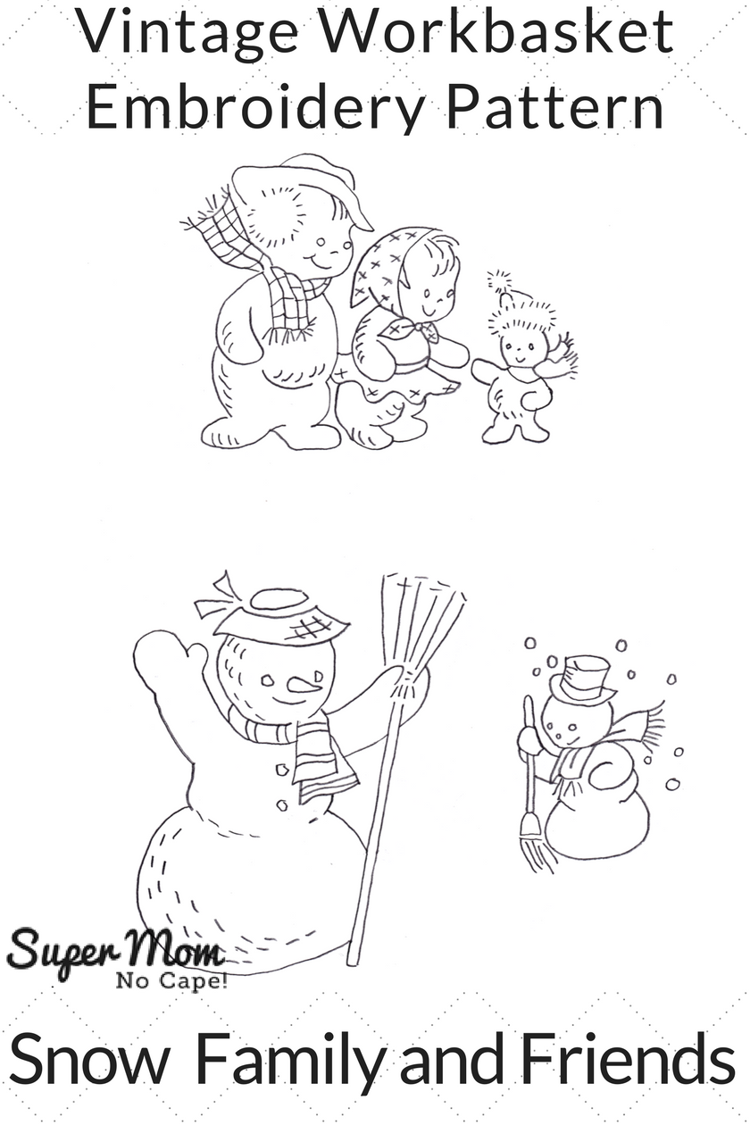 Vintage Workbasket Embroidery Pattern - Snow Family and Friends