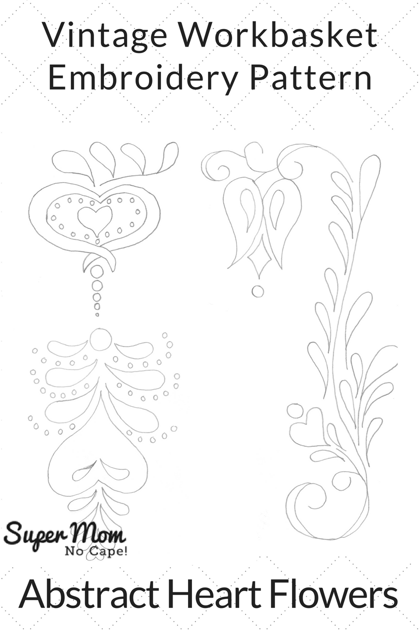 Vintage Workbasket Embroidery Pattern - Abstract Heart Flowers