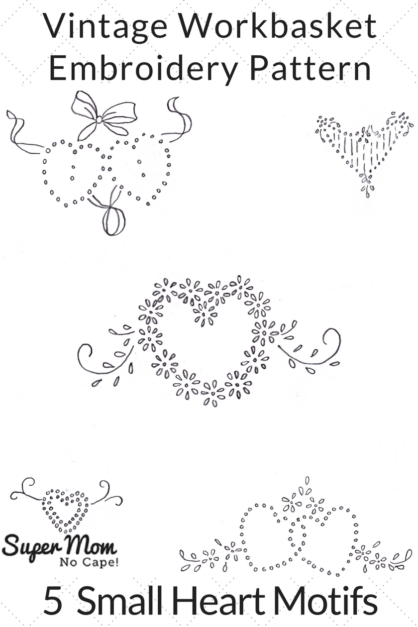 Vintage Workbasket Embroidery Pattern - 5 Small Heart Motifs
