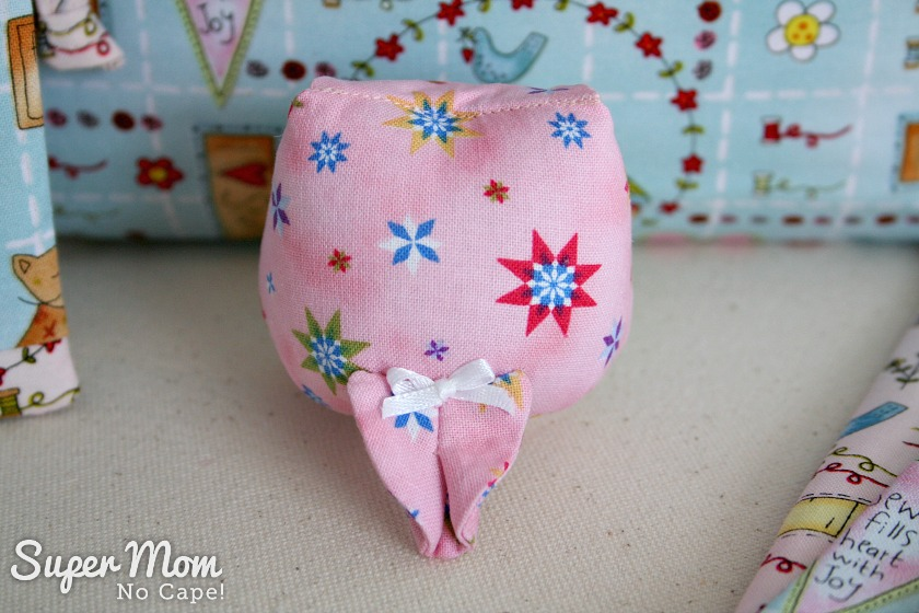 Artemis Owl Pincushion with bow on tail for 9th Anniversary Giveaway on Super Mom - No Cape!