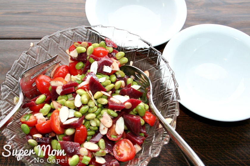 Beet and Edamame Salad - Add slivered almonds and toss lightly