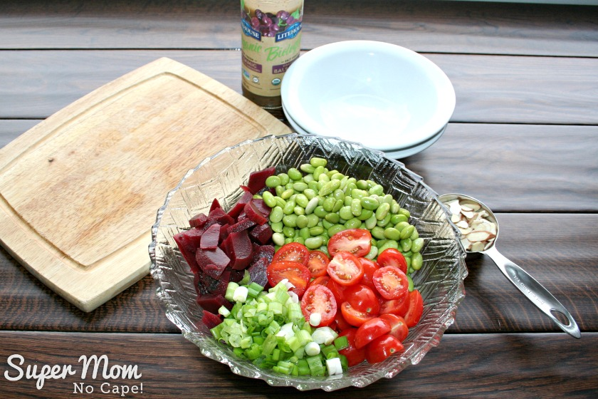 Beet and Edamame Salad - Beets, Edamame, Green Onions and Tomatoes in a Bowl
