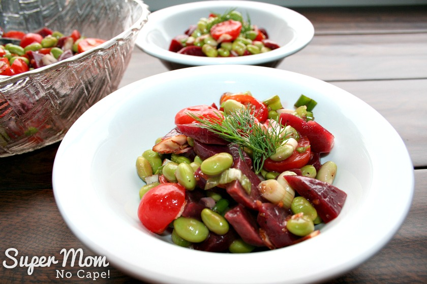 Beet and Edamame Salad - Serve topped with a sprig of fresh dill weed