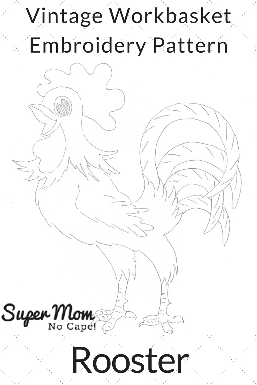 Vintage Workbasket Embroidery Pattern - Rooster
