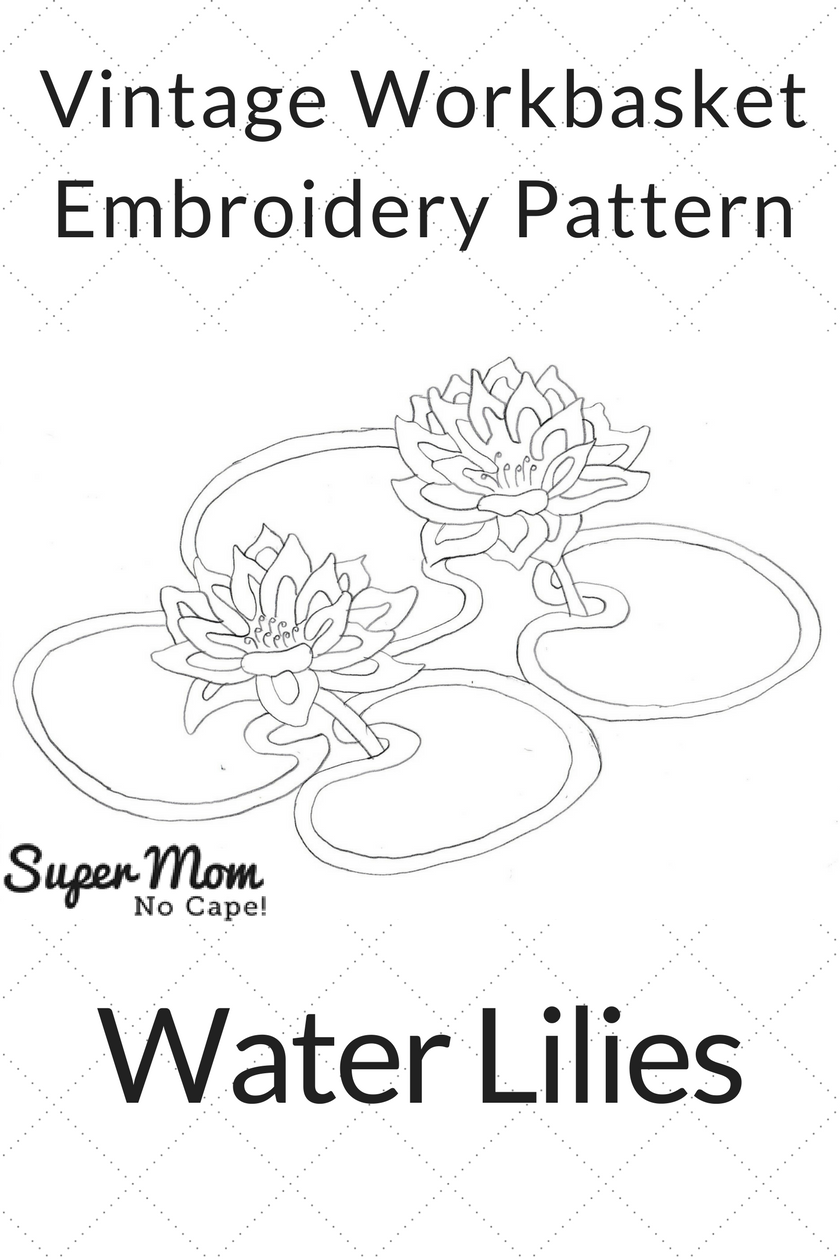 Vintage Workbasket Embroidery Pattern - Water Lilies