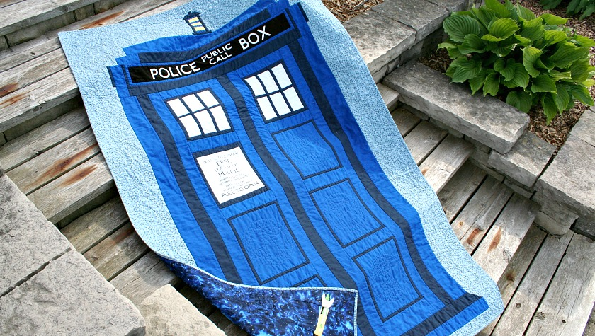 Doctor Who TARDIS Quilt Finish