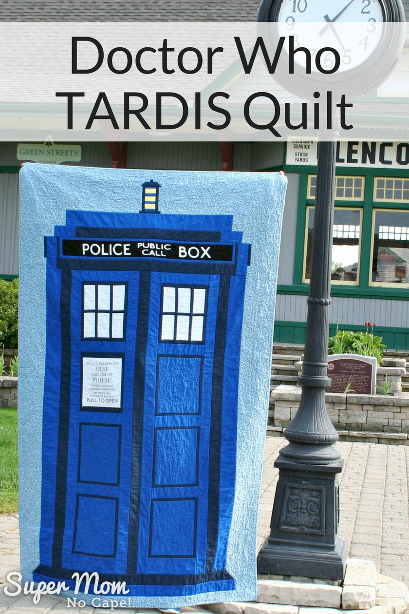 Doctor Who TARDIS Quilt made by Super Mom - No Cape!