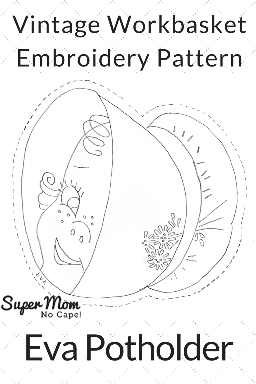 Vintage Workbasket Embroidery Pattern - Eva Potholder