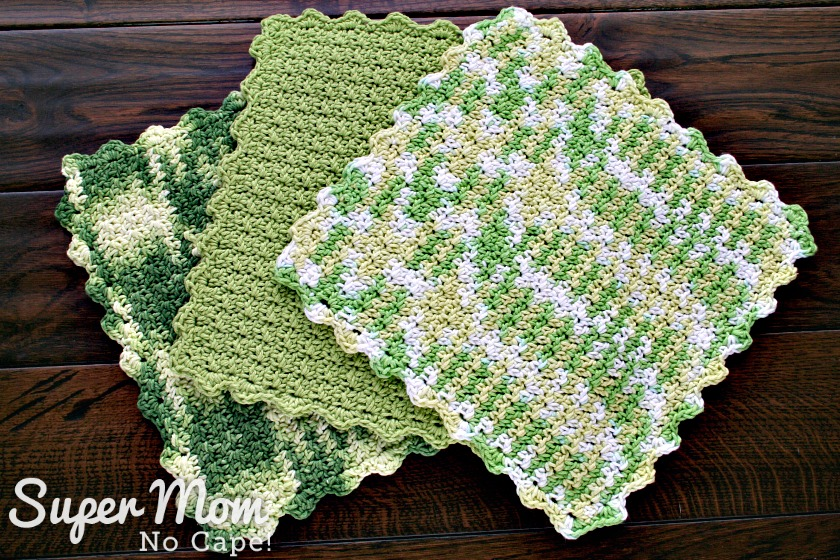 Crocheted Seed Stitch Dishcloth Pattern - three finished dishcloths