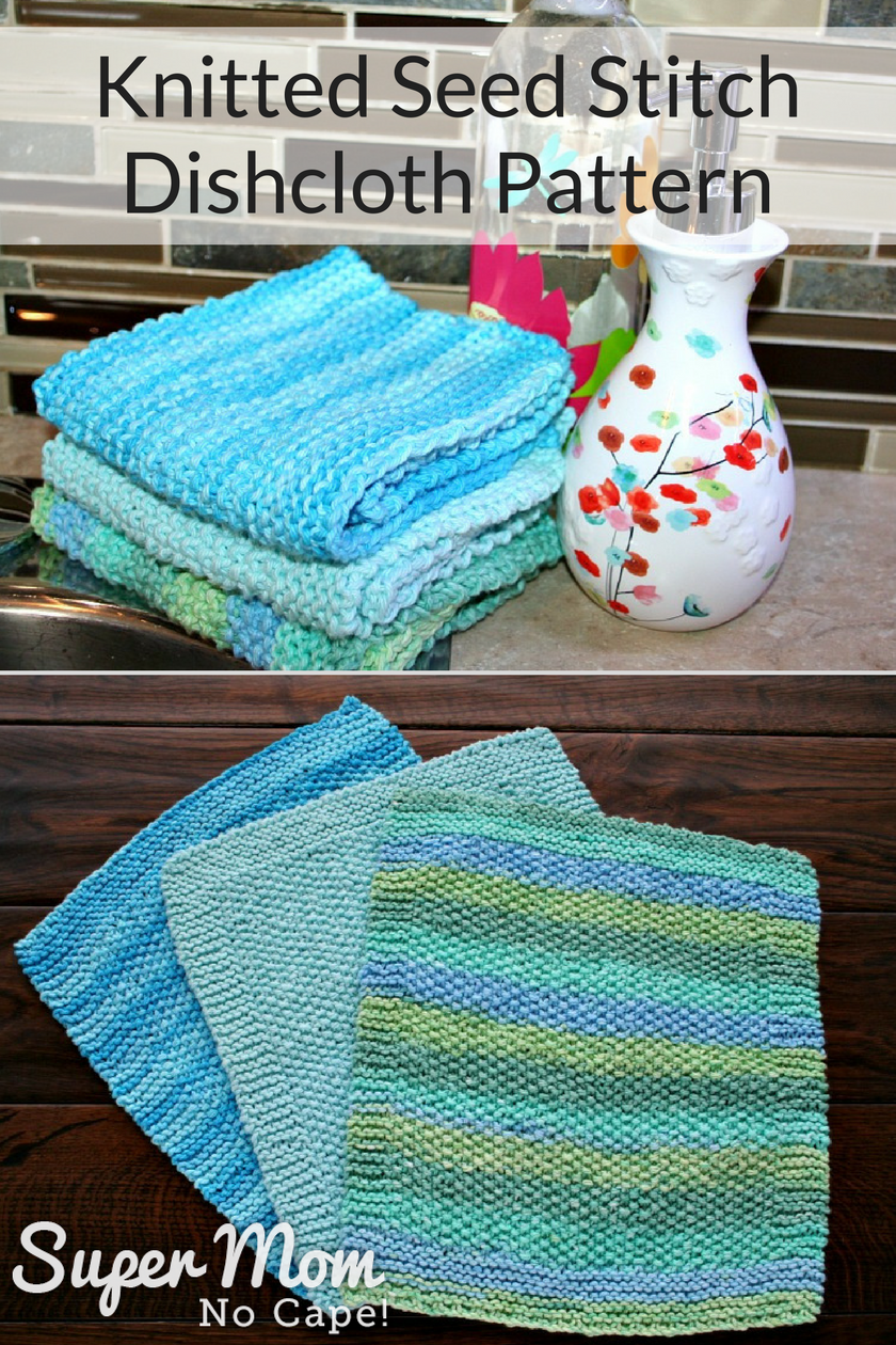 Knitted Seed Stitch Dishcloth Pattern - 3 pretty dishcloths ready to use