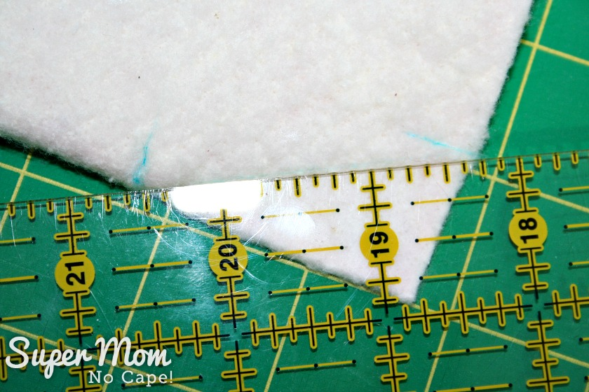 Charm Square Soup Bowl Cozy Tutorial - draw a diagonal line from one mark to the other