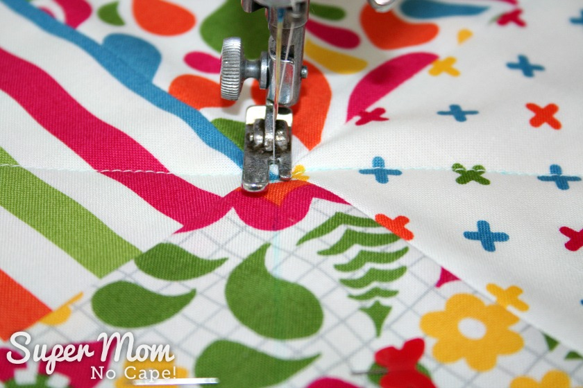 Charm Square Soup Bowl Cozy Tutorial - sew a diagonal line in the opposite direction