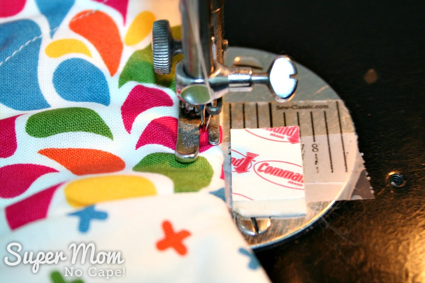 Charm Square Soup Bowl Cozy Tutorial - topstitch all the way around the top of the bowl cozy