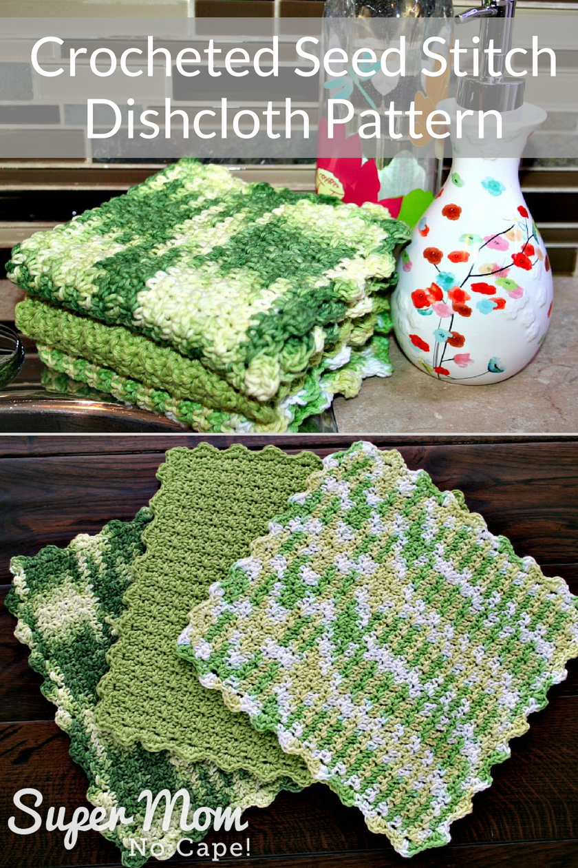 Crocheted Seed Stitch Dishcloth Pattern