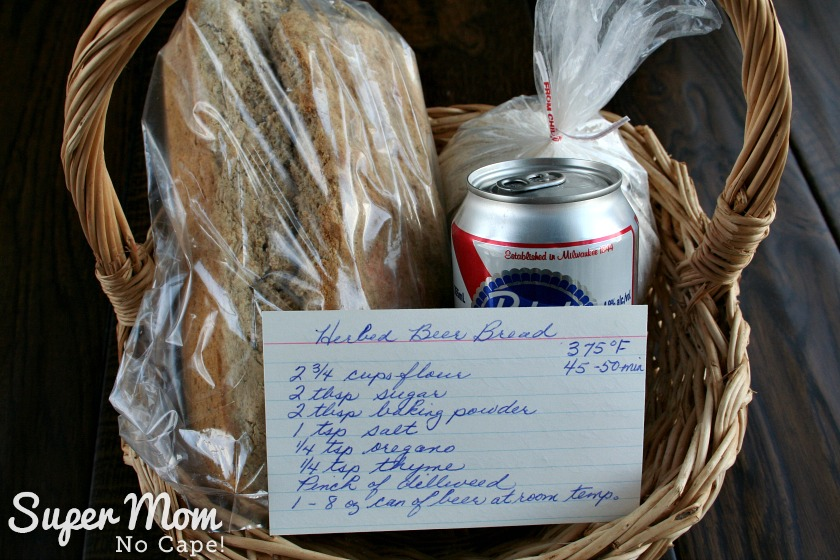 Herbed Beer Bread - Create a gift basket of a loaf of beer bread, beer, dry mix and don't forget to add the recipe