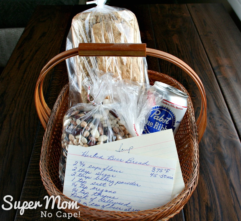 Herbed Beer Bread - Gift basket idea number two, loaf of beer bread, can of beer, dry mix, bean soup mix and don't forget to include the recipe cards
