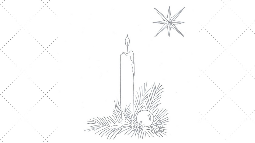Christmas Candle and Star Embroidery Pattern