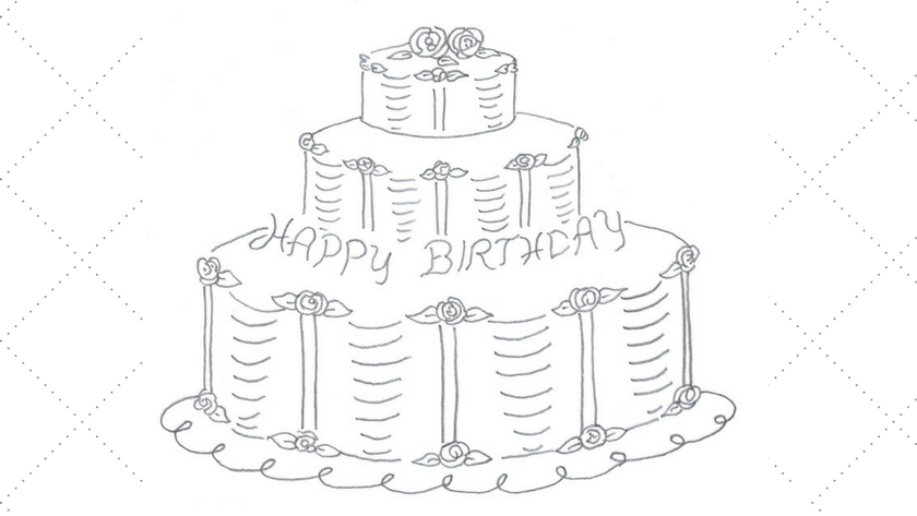 Tiered Birthday Cake Embroidery Pattern