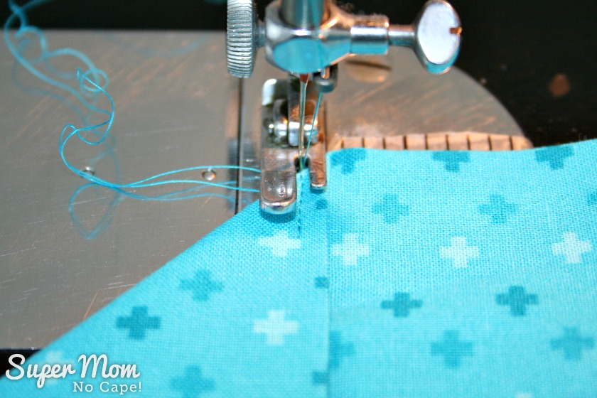 One Hour Table Runner - Backstitch to edge of table runner and then stitch forward