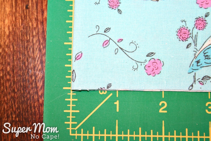 One Hour Table Runner - Line the folded edge up along the zero mark on the cutting mat