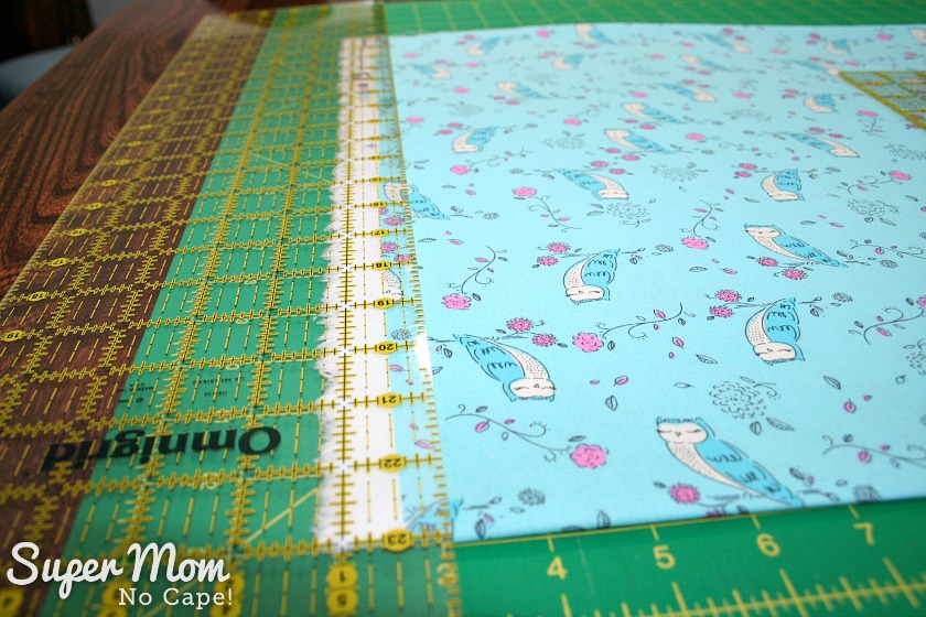 One Hour Table Runner - Step 1 for cutting off selvage of fabric