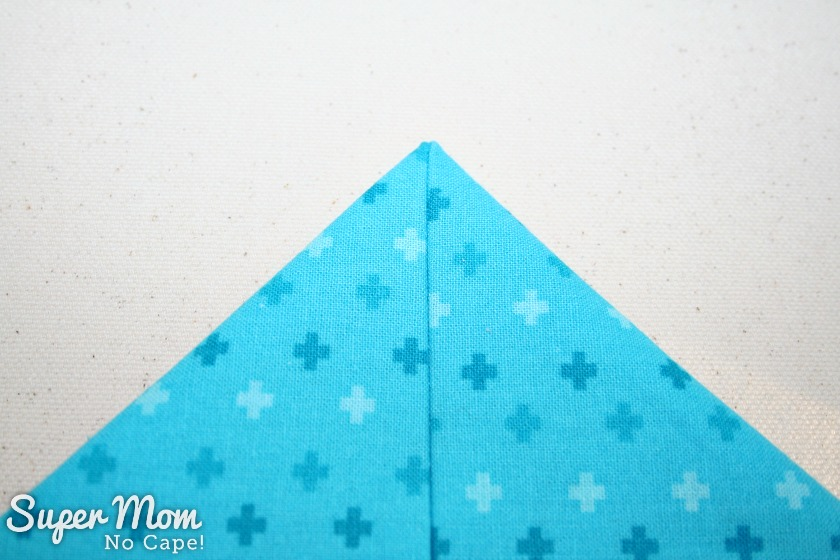 One Hour Table Runner - Turn point of table runner ride side out and push out the point