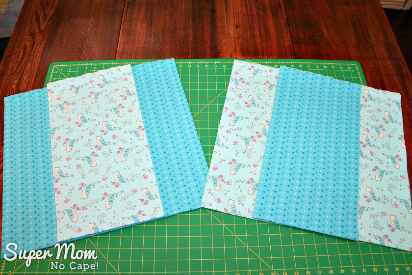 One Hour Table Runner - Two strips of 19.5 inches wide and 2 strips 9.5 inches wide
