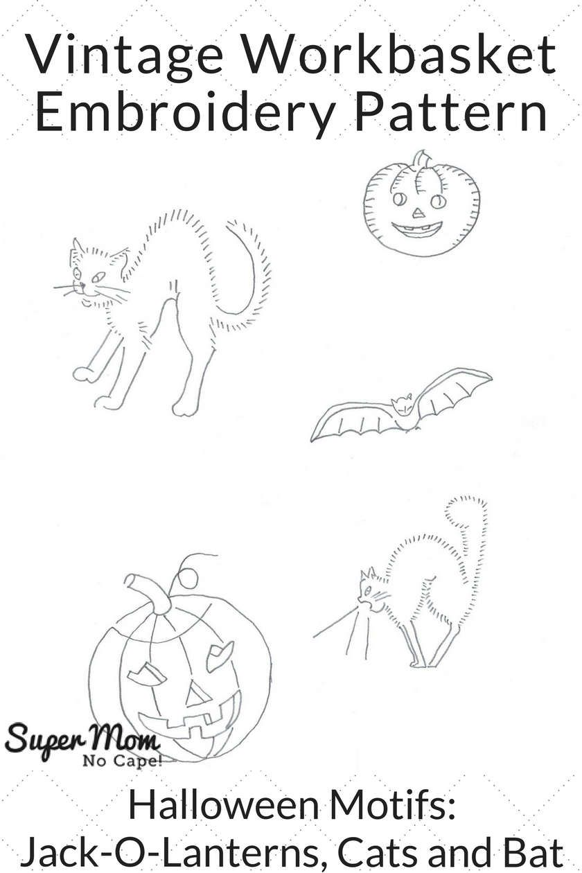 Vintage Workbasket Embroidery Pattern - Halloween Motifs- Jack O Lanterns Cats and Bat