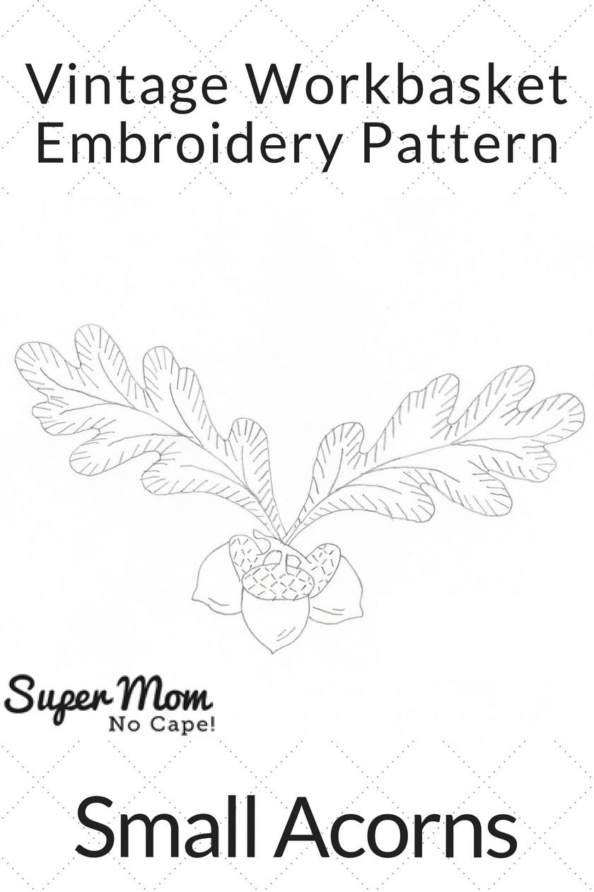 Vintage Workbasket Embroidery Pattern - Small Acorns
