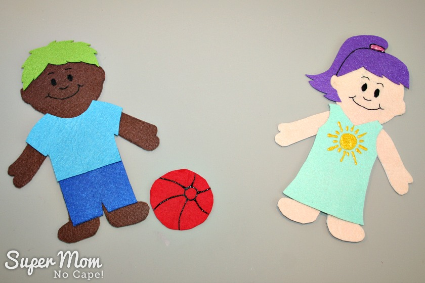 Wee Scholar Felt Dolls Pattern Release - Boy and Girls playing kick the ball