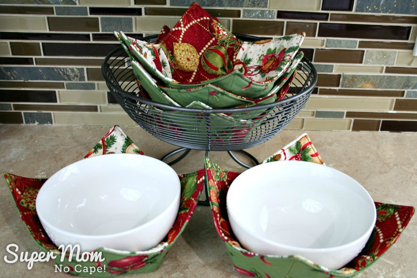 Charm Square Soup bowl cozies ready to use over the holidays