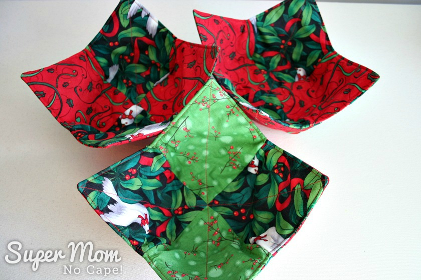 Christmas Charm Square Soup Bowl Cozies - 3 soup bowl cozies with dove fabric