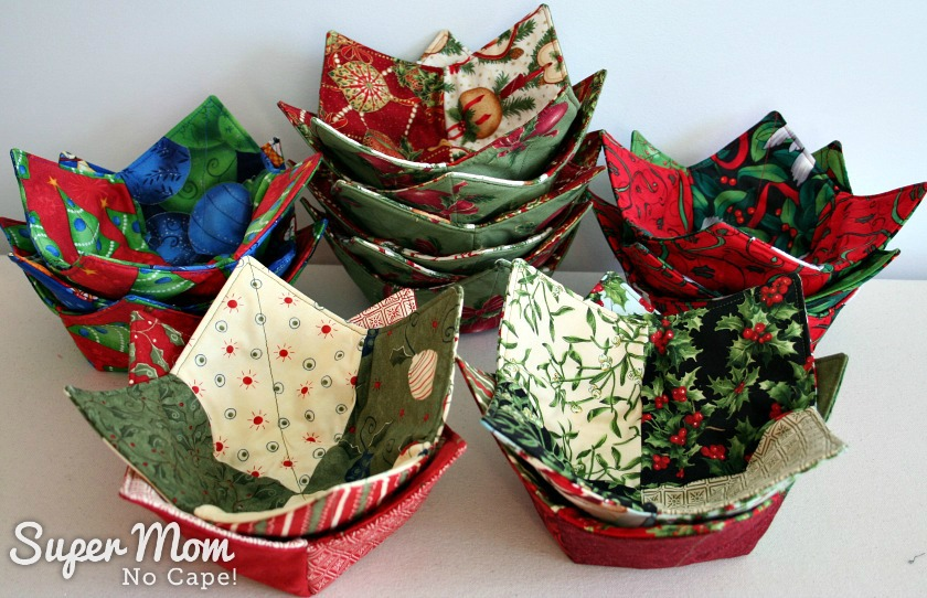 Christmas Charm Square Soup Bowl Cozies - 5 Stacks of Christmas Soup Bowl Cozies