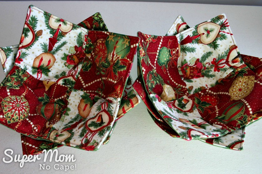 Christmas Charm Square Soup Bowl Cozies- 6 soup bowl cozies in deep red ornament fabric