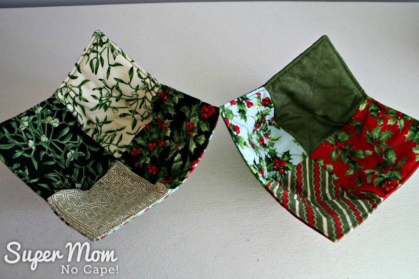Christmas Charm Square Soup Bowl Cozies - Holly and berries soup bowl cozies