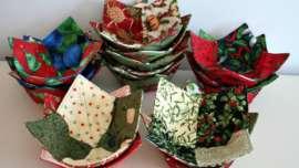 Stacks of Christmas Charm Square Soup Bowl Cozies - Stacks of Christmas Soup Bowl Cozies