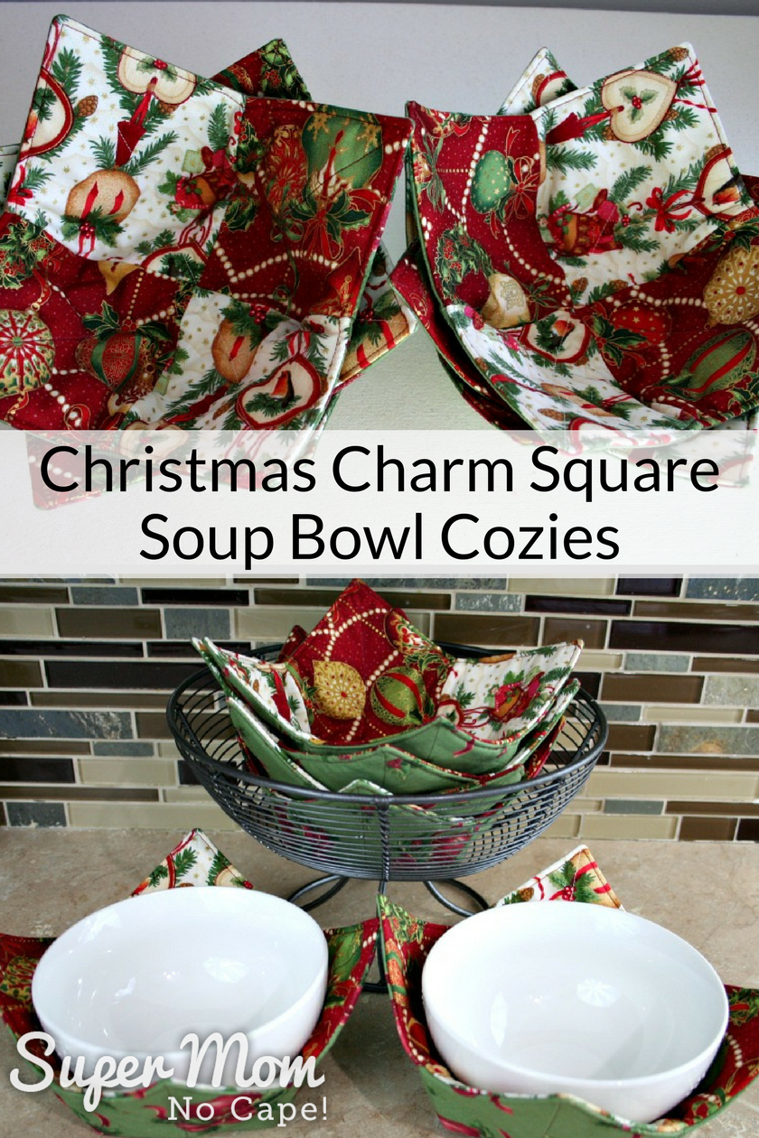 Christmas Charm Square Soup Bowl Cozies with link to tutorial