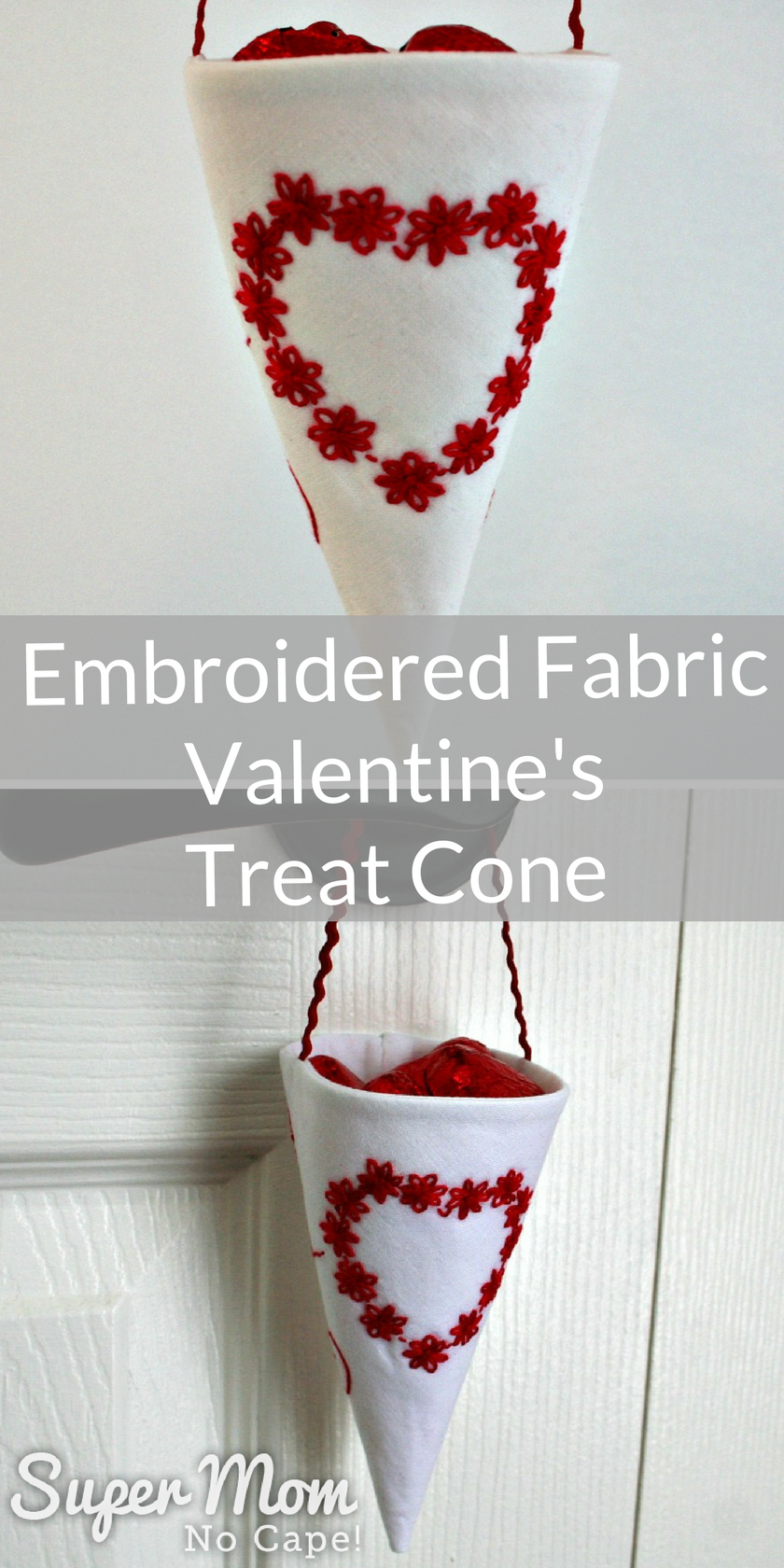 Collage photo of white fabric cone with red embroidered heart