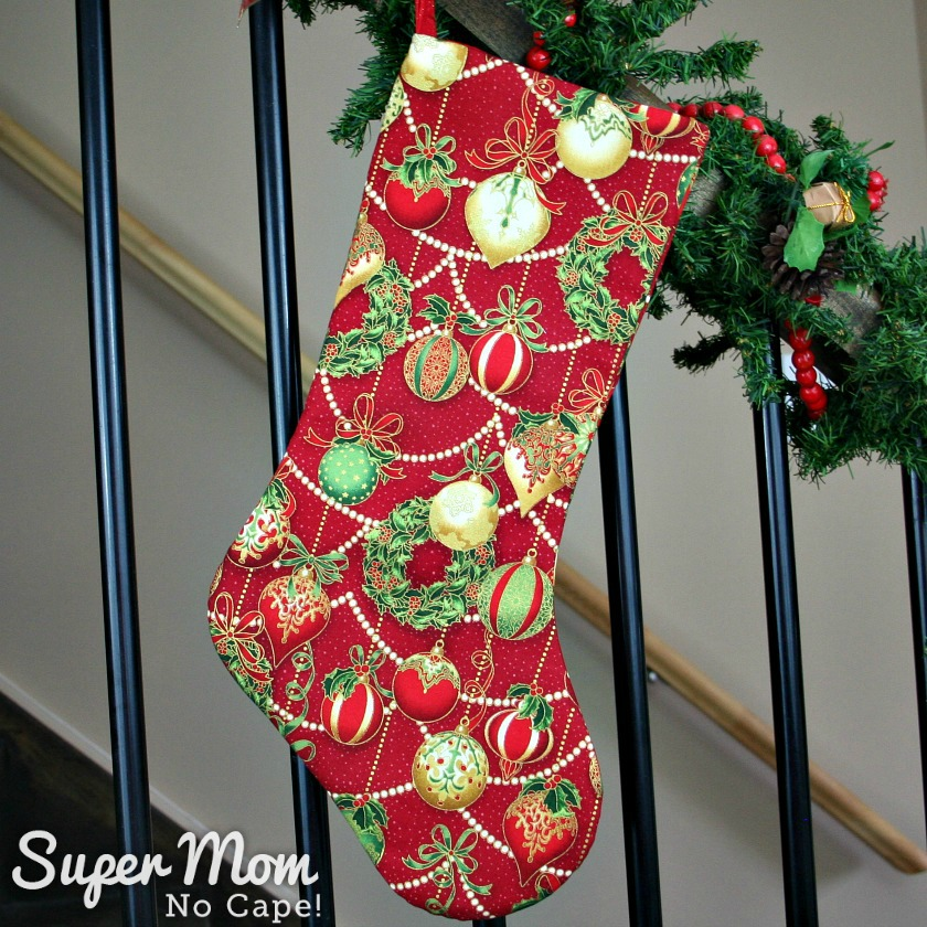 Red with Red Green and Gold Christmas Baubles Stocking