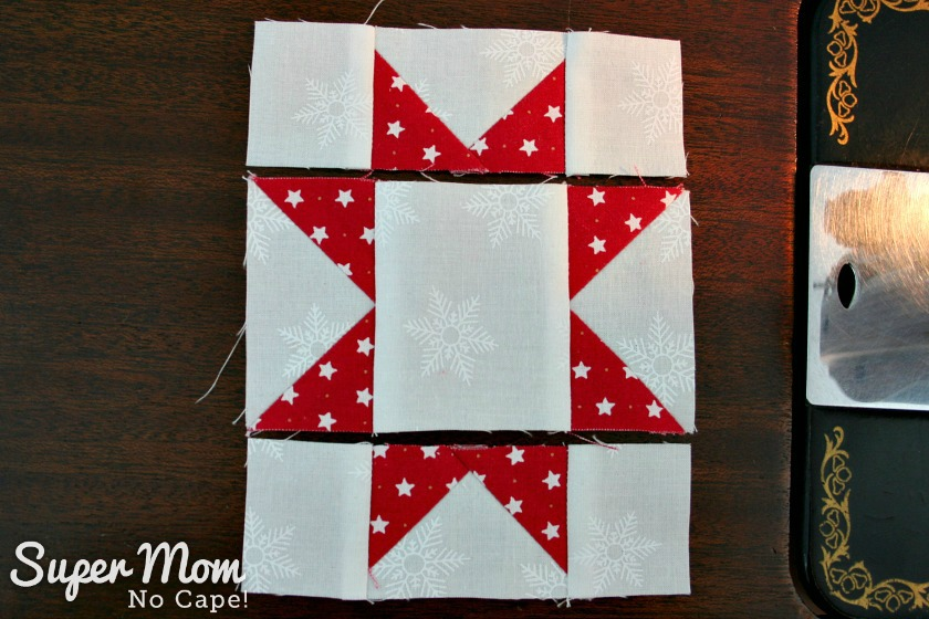 Sawtooth Star with Applique Center Ornament - 18. Three rows sewn together