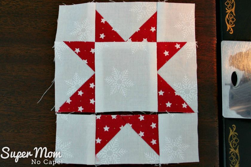 Sawtooth Star with Applique Center Ornament - 20. Two rows sewn together