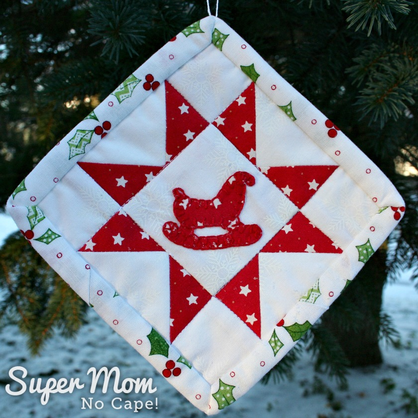 Sawtooth Star with Applique Center Ornament - Finished ornament with sleigh applique