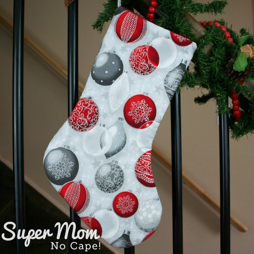 Silver Christmas Baubles Christmas Stocking