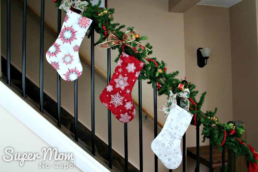 Three Red and White Snowflakes and Stars Christmas Stockings